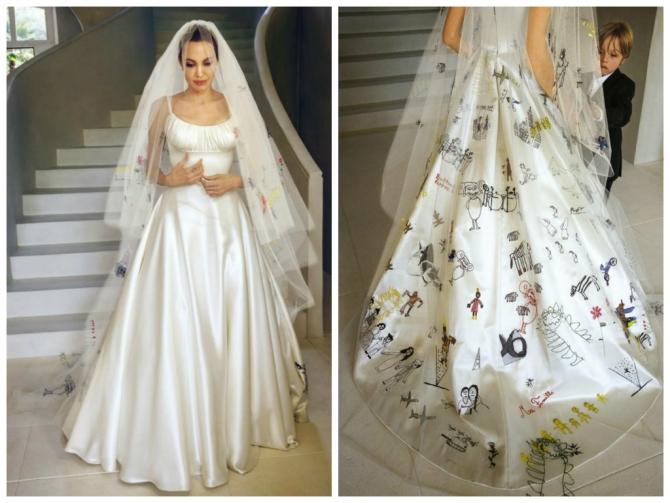 1d949d71462bdbe ... перенесли их на подол платья и фату, вышив рисунки вручную шелковыми  нитями. И хотя эта пара рассталась, свадебный наряд Джоли уже вошел в  историю.